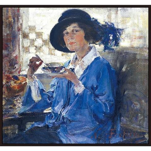 "Mrs. Krag by Nicolai Fechin Giclee Print Oil Painting Cherry Brown Frame Size 13"" x 12"""