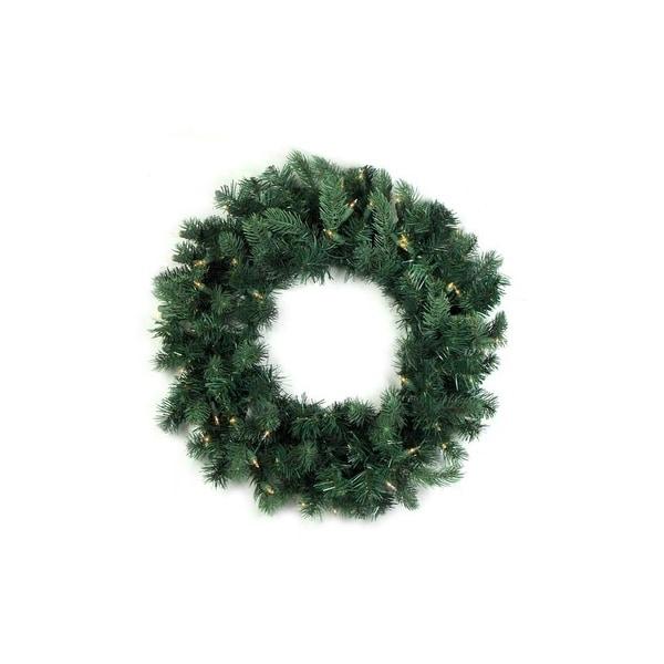 "24"" Pre-Lit Washington Frasier Fir Artificial Christmas Wreath - Clear Lights"