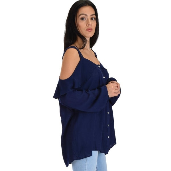 9d8b7a361806cb Shop navy long sleeve cold shoulder button down ruffle top with lace  cobtrast sl4272 2 2 2-Navy-Small - Free Shipping On Orders Over  45 -  Overstock.com - ...