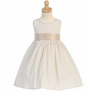 Khaki Striped Seersucker Sash Easter Dress Baby Girls 9M
