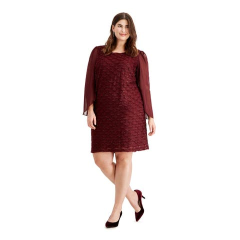 CONNECTED APPAREL Burgundy Long Sleeve Knee Length Dress 20W