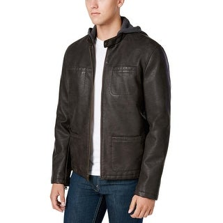 Levi's Dark Brown Hooded Faux Leather Jacket X-Large Faux Fur Lining