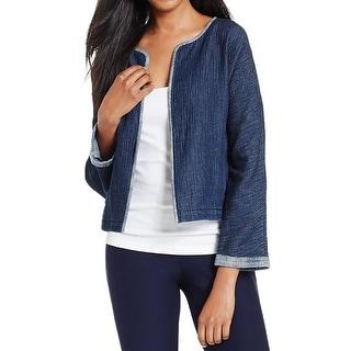 Eileen Fisher Womens Cardigan Top Jacket Faux Denim