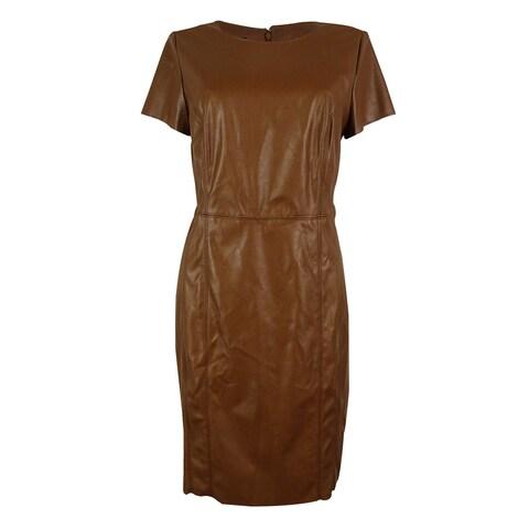 INC International Concepts Women's Faux Leather Sheath Dress - vicuna dream - 10
