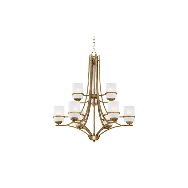 """Millennium Lighting 3289 Benton 9 Light 30"""" Wide 2-Tier Chandelier with Etched Glass Pillar Candle Style Shades - vintage gold"""