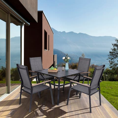 MFSTUDIO 5 Pieces Patio Dining Set, 4 x Aluminium Stackable Dining Chairs and 1 x Metal Table