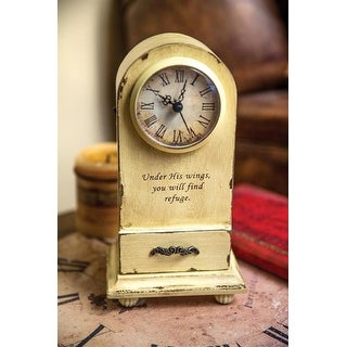 "9.25"" Ivory Vintage Inspired Inspirational Quote Decorative Table Clock"