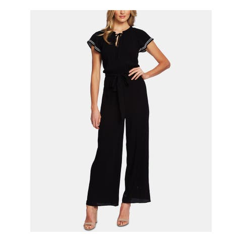 CECE Womens Black Short Sleeve Tie Neck Jumpsuit Size L