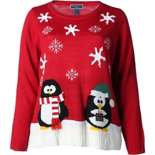 Karen Scott Womens Plus Holiday Penguins Embroidered Pullover Sweater