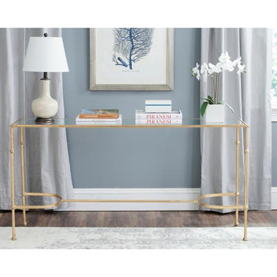 """Safavieh Lucille Gold/ Tempered Glass Top Console - 63"""" x 16"""" x 32"""""""