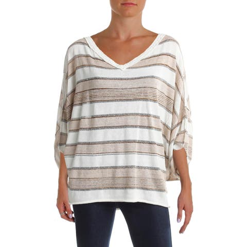 Free People Womens Love Me Too Pullover Sweater Metallic Striped