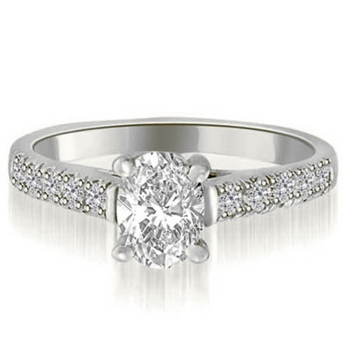0.70 cttw. 14K White Gold Cathedral Trellis Oval Cut Diamond Engagement Ring