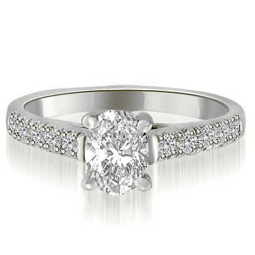 0.95 cttw. 14K White Gold Cathedral Trellis Oval Cut Diamond Engagement Ring