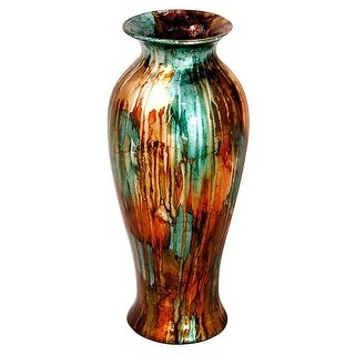 Judith 21 in. Foiled & Lacquered Ceramic Vase - Turquoise,