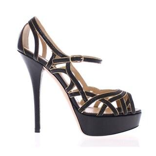 Dolce & Gabbana Black Leather Platform Sandals Pumps Shoes - 40