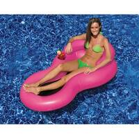 """62.5"""" Pink """"COOL CHAIR"""" Water Inflatable Lounge Chair with Head Rest and Cup Holder"""