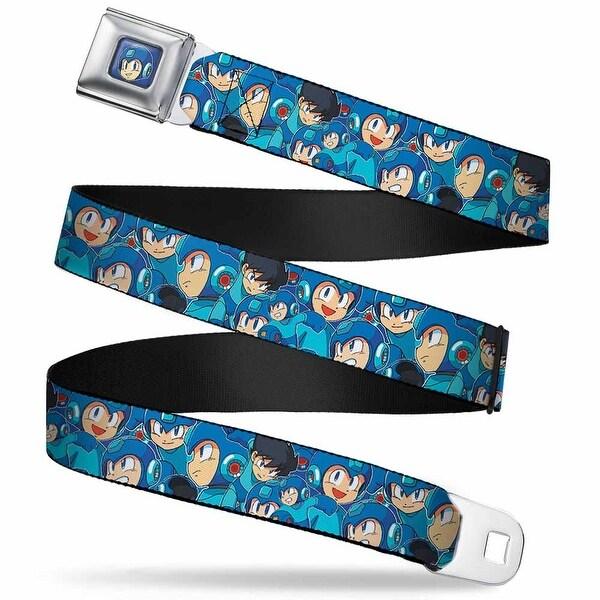 Megaman Face Full Color Blue Megaman Expressions Stacked Webbing Seatbelt Seatbelt Belt