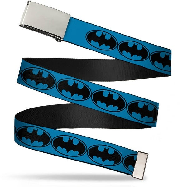 Blank Chrome Buckle Bat Signal 3 Blue Black Blue Webbing Web Belt