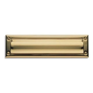 Baldwin 14 Package Sized Spring Tension Brass Letter Box Plate with Hinged Interior Cover (More options available)
