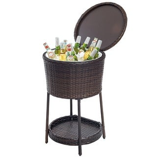 Costway Ice Cooler Bar Table Bucket Chest Outdoor Drinks Patio Furniture Rattan Storage