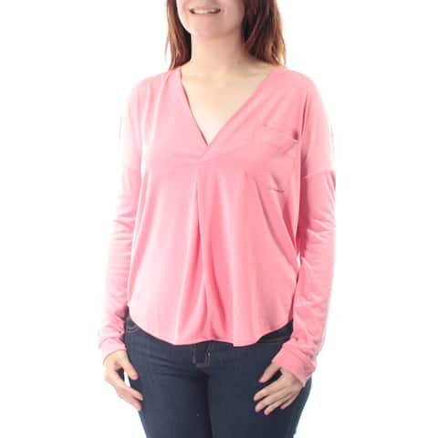 KIIND OF Womens Coral Long Sleeve V Neck Top Size: S