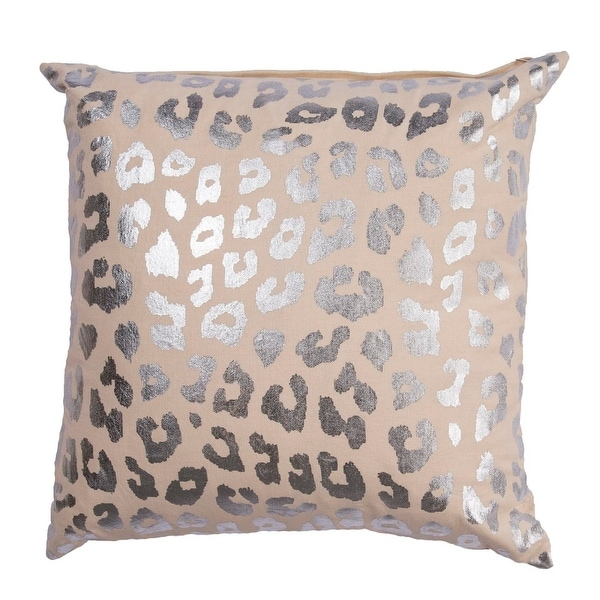 "20"" Antique White and Silver Leopard Animal Print Decoative Throw Pillow"