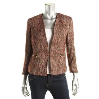 Nine West Womens Tweed Shoulder Pads Collarless Blazer