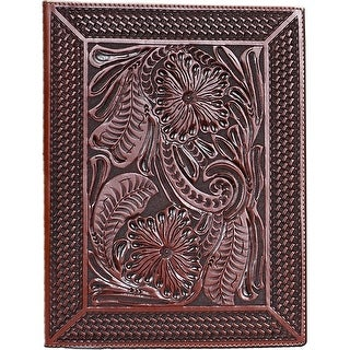 3D Western Pad Holder Leather Hand Tooled Floral Basketweave