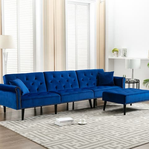 "KINWELL 115"" Velvet Reversible Sleeper Sofa & Chaise"