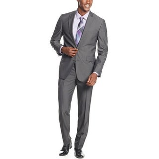 Kenneth Cole Reaction Slim Fit Charcoal Stripe Suit 42 Short 42S Pants 35W