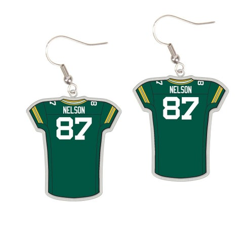 Green Bay Packers #87 Jordy Nelson Dangle Jersey Earrings
