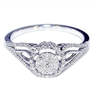 1/4cttw Diamond Vintage Engagement Bridal Ring 8mm Wide 10K White Gold(I/j Color 0.25cttw)