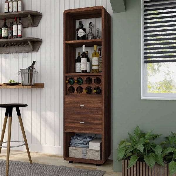 Furniture of America Sity Transitional Walnut Wine Cabinet. Opens flyout.