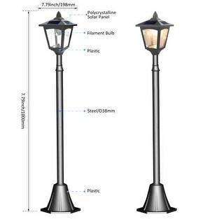 "Kanstar 42"" Mini Street Vintage Outdoor Garden Triple Solar Lamp Post Light Lawn - Adjustable"
