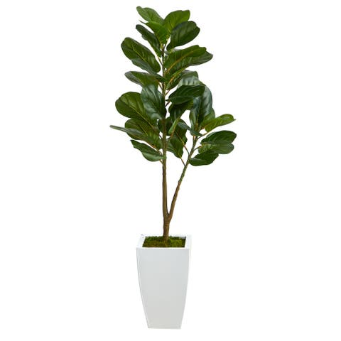 """4' Fiddle Leaf Fig Artificial Tree in White Metal Planter - 13"""""""