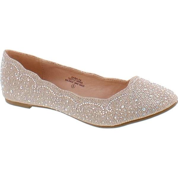 De Blossom Footwear Women's Baba-54 Sparkly Crystal Rhinestone Ballet Flats