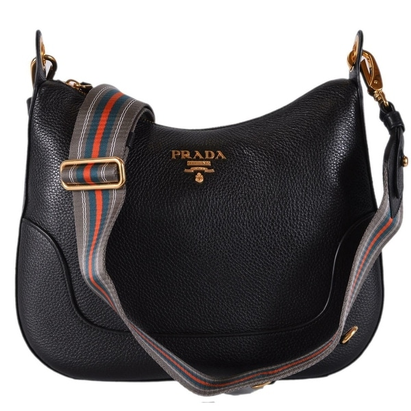 Prada 1BC052 Black Soft Leather Daino Stripe Strap Crossbody Purse Bag 3bd401400eb8e