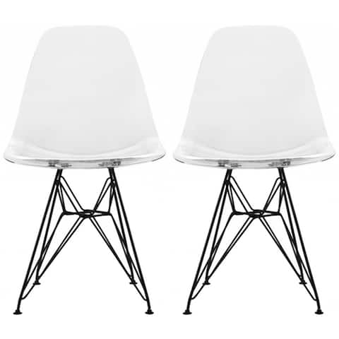 2xhome Set of 2 Modern Color Seat Height DSW Molded Armless Plastic Dining Room Chairs Black Wire Eiffel Dowel Legs