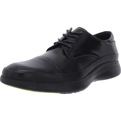 Kenneth Cole New York Mens Mello Oxfords Leather Lace-Up - Black - 9.5 Medium (D)