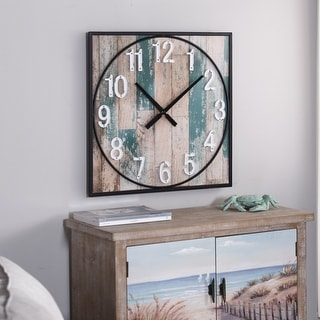 Weathered Matte Square Framed Take Time Wall Clock with Metal Detail