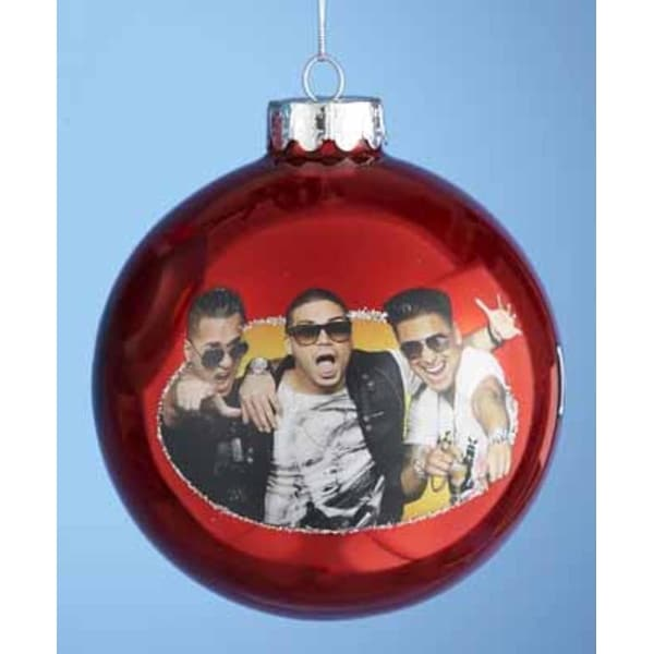 """Red - """"Jersey Shore"""" - Mike, Vinnie and Pauly - Glass Ball Christmas Ornament 4"""" (100mm)"""