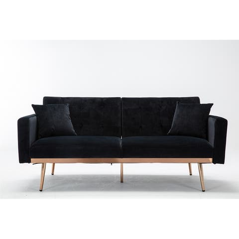 Moda loveseat sofa with rose gold metal feet and Black Velvet