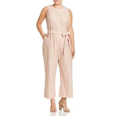 Vince Camuto Womens Plus Jumpsuit Lace Cropped - Peach Bellini