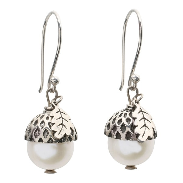 Women's Sterling Silver And White Pearl Acorn Dangle Earrings