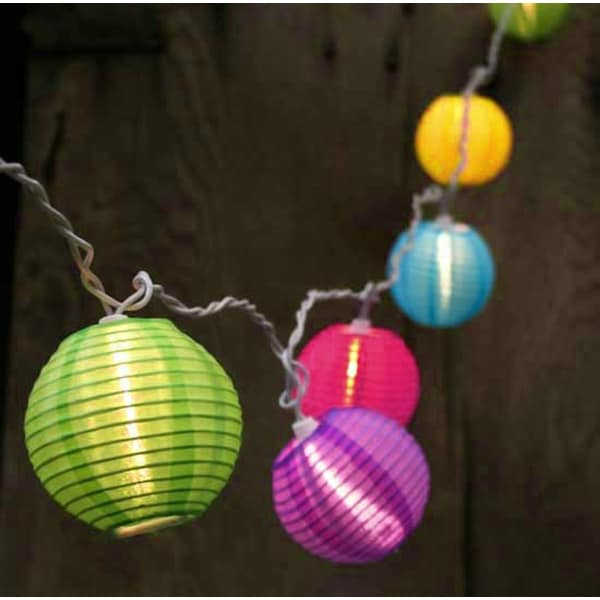 Set Of 10 Bright And Colorful Round Chinese Lantern Patio Lights White Wire Multi Colored Free Shipping On Orders Over 45 14469193