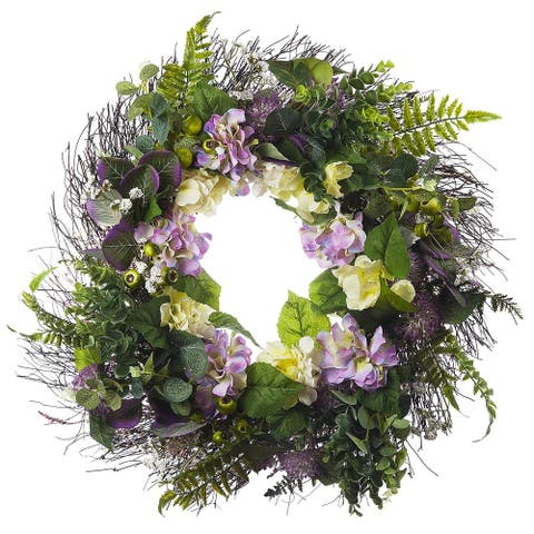 "Enova Home 24"" Artificial Mixed Hydrangea Flower Wreath with Green Leaves for Festival Celebration Front Door Wall Decoration"