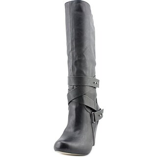 Madden Girl Sargentt Women Round Toe Synthetic Black Knee High Boot