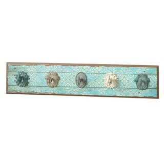 """Set of 2 Turquoise and Ivory Distressed Pattern Iron Wall Hooks 27.6"""""""