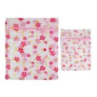 Home Bathroom Nylon Flower Pattern Clothes Socks Underwear Washing Bag 2 in 1
