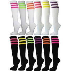 6 Pairs Ladies/Women Premium Quality 3 Neon tripes Cotton Knee High Socks